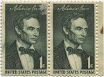 1959 1c Abraham Lincoln Stamp Pair of JoinedMint