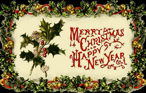 Merry Christmas and Happy New Year - vintage card
