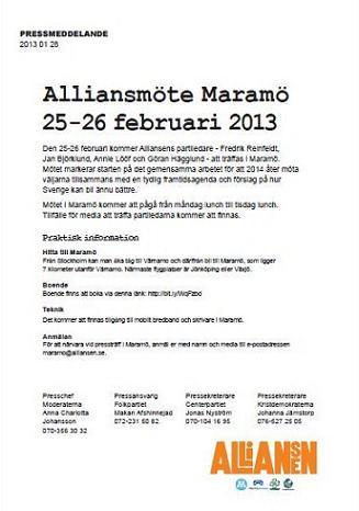 Pressmeddelande Alliansen den 28 januari 2013