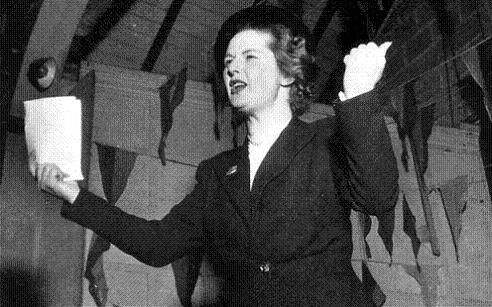 Margaret Roberts campaigning in 1951 for the constituency of Dartford