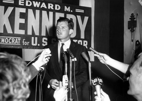Edward M. Kennedy at Boston's Hotel Touraine on the night of the Democratic primary, September 18, 1962. Photograph courtesy of the Office of Senator Edward M. Kennedy.