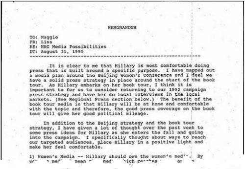 Memorandum 31 augusti 1995--från Lisa Caputo till Maggie Williams