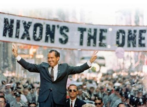 Richard Nixon at a 1968 campaign event. Photo-Nixon Foundation