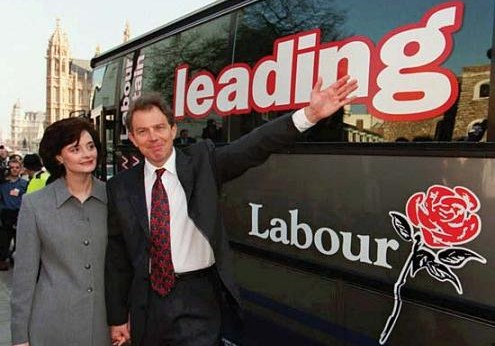 Picture Sean Dempsey-AP -- Tony Blair & Cherie Booth campaigning in April 1997