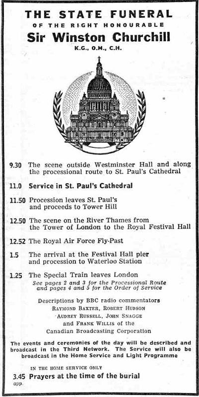 Radio Times-january 28 1965-the State Funeral of Winston Churchill