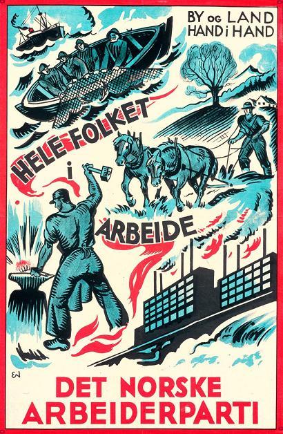Den Norske Arbeiderparti -  Erling Nielsens valgplakat fra 1933.